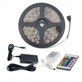 Tira LED 24W RGB 12V DC SMD5050 30LED/m 5m, Controlador con Mando y Fuente de Alimentación