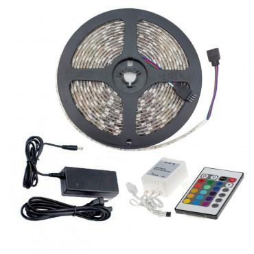 Tira LED 48W RGB 12V DC SMD5050 60LED/m 5m, Controlador con Mando y Fuente de Alimentación