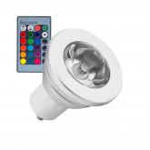 Lámpara LED GU10 RGB 3W con controlador integrado y mando